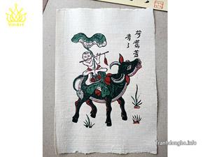 Tranh giấy Chăn Trâu Thổi Sáo 26cm x 37cm - TG080