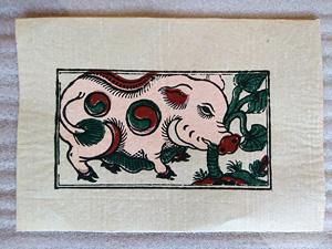 Tranh giấy đông hồ Lợn Ăn Cây Ráy 37cm x 26cm - TG054