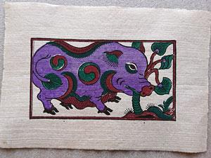 Tranh giấy đông hồ Lợn Ăn Cây Ráy 37cm x 26cm - TG054T