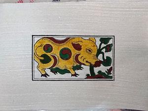 Tranh giấy đông hồ Lợn Ăn Cây Ráy 37cm x 26cm - TG054V