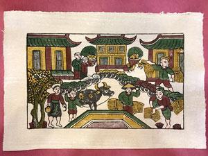 Tranh giấy Nhà Nông Bắt Đầu Thu Hoạch 37cm x 26cm - TG074