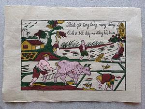 Tranh giấy Nhà Nông Làm Đồng 37cm x 26cm - TG101