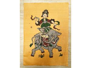 Tranh giấy đông hồ Bà Triệu Cưỡi Voi 26cm x 37cm - TG045