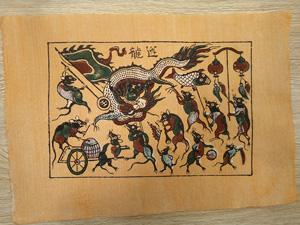 Tranh giấy đông hồ Chuột Múa Rồng 37cm x 26cm - TG025