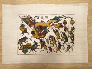 Tranh giấy đông hồ Chuột Múa Rồng 37cm x 26cm - TG026