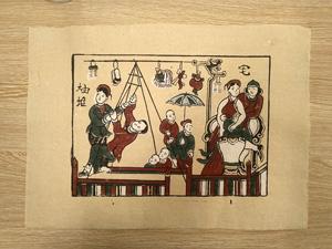 Tranh giấy đông hồ Hội Đu - Hội Làng 37cm x 26cm - TG015