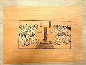 Tranh giấy đông hồ Hội Thi Kéo Co 37cm x 26cm - TG019