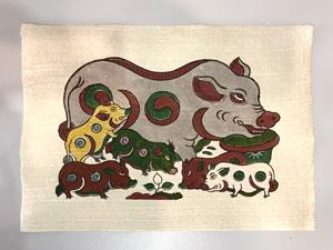Tranh giấy đông hồ Lợn Đàn Âm Dương 37cm x 26cm - TG021