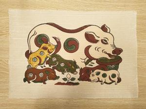 Tranh giấy đông hồ Lợn Đàn Âm Dương 37cm x 26cm - TG022