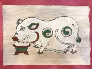 Tranh giấy đông hồ Lợn Độc Bên Máng Thức Ăn 37cm x 26cm - TG006