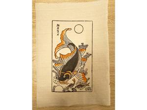 Tranh giấy Cá Chép - Lý Ngư Vọng Nguyệt 26cm x 37cm - TG033