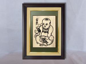 Tranh khắc gỗ đông hồ Phú Quý - Em Bé Ôm Vịt 25cm x 32cm - TKG006