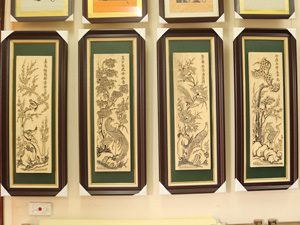 Bộ tranh khắc gỗ đông hồ Tứ Quý Sáo 35cm x 87cm - TKG014