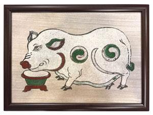 Tranh khung kính đông hồ Lợn Độc Bên Máng Thức Ăn 40cm x 30cm - TK006