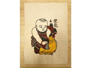 Tranh giấy đông hồ Vinh Hoa - Em Bé Ôm Gà 26cm x 37cm - TG051