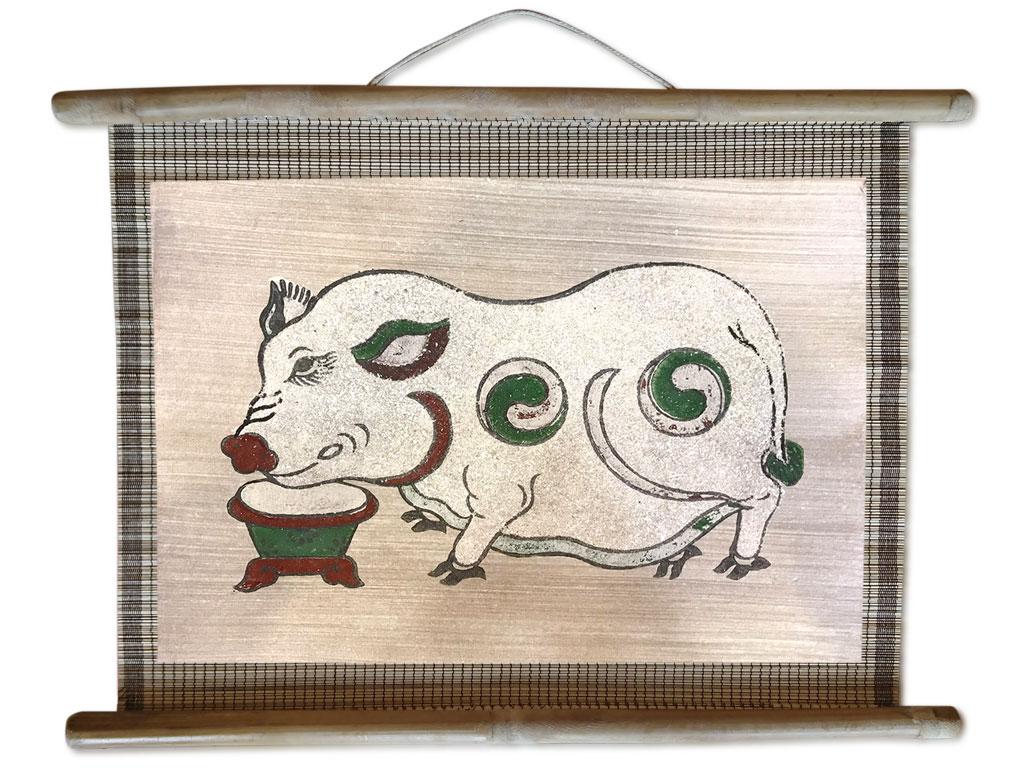 Tranh mành đông hồ Lợn Độc Bên Máng Thức Ăn 45cm x 32cm - TM006